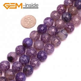 "G825412mm Purple Round Faceted Gemstone Crackle Agate DIY Crafts Jewelry Loose Beads Strand 15"" Natural Stone Beads for Jewelry Making Wholesale"