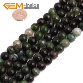 "G8255 10mm Dark Green Round Faceted Gemstone Crackle Agate DIY Crafts Jewelry Loose Beads Strand 15"" Natural Stone Beads for Jewelry Making Wholesale"