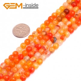 "G8257 6mm Orange Round Faceted Gemstone Crackle Agate DIY Crafts Jewelry Loose Beads Strand 15"" Natural Stone Beads for Jewelry Making Wholesale"