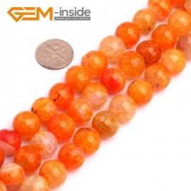 "G8258 12mm Orange Round Faceted Gemstone Crackle Agate DIY Crafts Jewelry Loose Beads Strand 15"" Natural Stone Beads for Jewelry Making Wholesale"