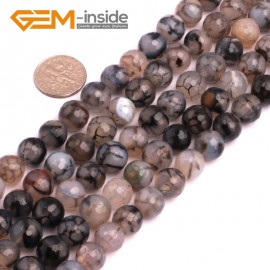 """G8259 10mm Black Round Faceted Gemstone Crackle Agate DIY Crafts Jewelry Loose Beads Strand 15"""" Natural Stone Beads for Jewelry Making Wholesale"""