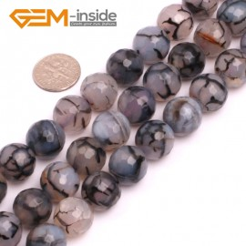"""G8261 14mm Black Round Faceted Gemstone Crackle Agate DIY Crafts Jewelry Loose Beads Strand 15"""" Natural Stone Beads for Jewelry Making Wholesale"""