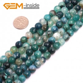 """G8262 8mm Green Round Faceted Gemstone Crackle Agate DIY Crafts Jewelry Loose Beads Strand 15"""" Natural Stone Beads for Jewelry Making Wholesale"""