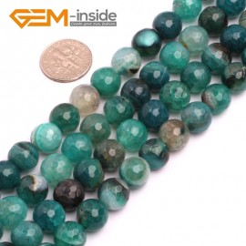 "G8263 10mm Green Round Faceted Gemstone Crackle Agate DIY Crafts Jewelry Loose Beads Strand 15"" Natural Stone Beads for Jewelry Making Wholesale"