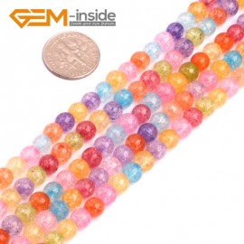 """G8266 6mm Round Gemstone Dyed Mixed Crackle Rock Quartz DIY Jewelry Making Beads15""""  Natural Stone Beads for Jewelry Making Wholesale"""