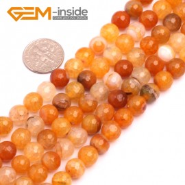 "G8271 8mm Orange Round Faceted Gemstone Crackle Agate DIY Crafts Jewelry Loose Beads Strand 15"" Natural Stone Beads for Jewelry Making Wholesale"