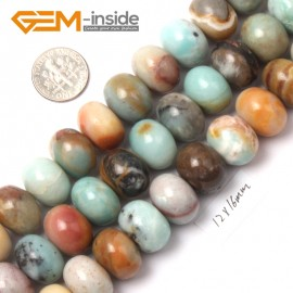 "G9023 12x16mm Smooth Rondelle Mixed Amazonite Jewelry Making Gemstone Beads 15"" Natural Stone Beads for Jewelry Making Wholesale"