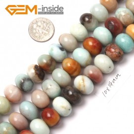"G9024 10x14mm Smooth Rondelle Mixed Amazonite Jewelry Making Gemstone Beads 15"" Natural Stone Beads for Jewelry Making Wholesale"