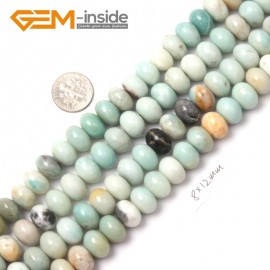 "G9025 8x12mm Smooth Rondelle Mixed Amazonite Jewelry Making Gemstone Beads 15"" Natural Stone Beads for Jewelry Making Wholesale"