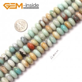 "G9026 6x10mm Smooth Rondelle Mixed Amazonite Jewelry Making Gemstone Beads 15"" Natural Stone Beads for Jewelry Making Wholesale"