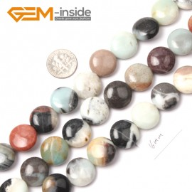 """G9030 16mm Natural Stone Beads Amazonite Coin Mixed-color Jewelry Making 15""""Size Selectable Natural Stone Beads for Jewelry Making Wholesale`"""