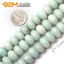 "G9062 8x12mm Rondelle Roundel Smooth Amazonite Gemstone Jewelry Making Loose Beads Strand15"" Natural Stone Beads for Jewelry Making Wholesale"