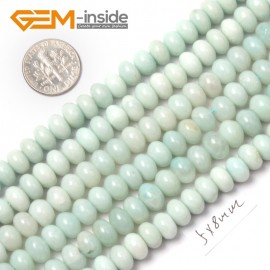 "G9064 5x8mm Rondelle Roundel Smooth Amazonite Gemstone Jewelry Making Loose Beads Strand15"" Natural Stone Beads for Jewelry Making Wholesale"