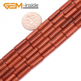 "G9258 Gold Sand Stone 4x12mm Column Gemstone DIY Jewerly Crafts Making Loose Beads15"" 19 Materials Natural Stone Beads for Jewelry Making Wholesale"