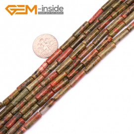 "G9263 Unakite 4x12mm Column Gemstone DIY Jewerly Crafts Making Loose Beads15"" 19 Materials Natural Stone Beads for Jewelry Making Wholesale"