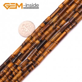 "G9264 Yellow Tiger Eye 4x12mm Column Gemstone DIY Jewerly Crafts Making Loose Beads15"" 19 Materials Natural Stone Beads for Jewelry Making Wholesale"