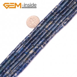 "G9267 Lapis Lazuli 4x12mm Column Gemstone DIY Jewerly Crafts Making Loose Beads15"" 19 Materials Natural Stone Beads for Jewelry Making Wholesale"