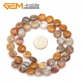 """G9358 10mm/Crazy Lace Agate Natural Coin Gemstone Beads Jewelry Making Loose Beads Strand 15"""" Free Shipping Natural Stone Beads for Jewelry Making Wholesale"""