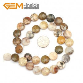 """G9367 12mm/Ocean Jasper  Natural Coin Gemstone Beads Jewelry Making Loose Beads Strand 15"""" Free Shipping Natural Stone Beads for Jewelry Making Wholesale"""