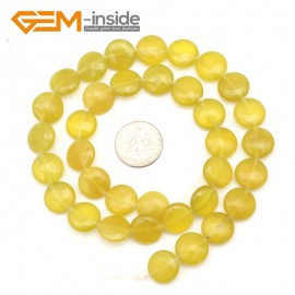 "G9370 12mm/Yellow Lemon Natural Coin Gemstone Beads Jewelry Making Loose Beads Strand 15"" Free Shipping Natural Stone Beads for Jewelry Making Wholesale"