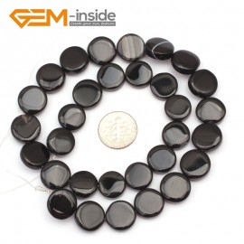 """G9371 14mm/Black Agate Natural Coin Gemstone Beads Jewelry Making Loose Beads Strand 15"""" Free Shipping Natural Stone Beads for Jewelry Making Wholesale"""