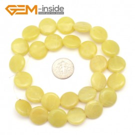 "G9372 14mm/Yellow Lemon Natural Coin Gemstone Beads Jewelry Making Loose Beads Strand 15"" Free Shipping Natural Stone Beads for Jewelry Making Wholesale"
