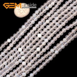 "G9377 4mm Round White Frost Gemstone Spacer Agate Stone Beads Jewelry Making Strand 15"" Natural Stone Beads for Jewelry Making Wholesale"
