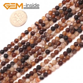 "G9386 4mm Brown Round Frost Gemstone Agate Beads DIY Jewelry Maing Loose Beads Strand 15"" Natural Stone Beads for Jewelry Making Wholesale`"