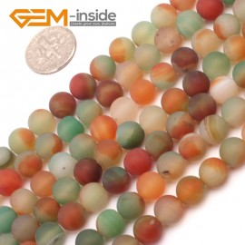 "G9387 8mm Red&Green Round Frost Gemstone Agate Beads DIY Jewelry Maing Loose Beads Strand 15"" Natural Stone Beads for Jewelry Making Wholesale`"