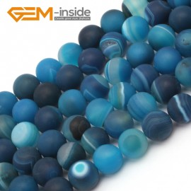 """G9388 8mm Blue Round Frost Gemstone Agate Beads DIY Jewelry Maing Loose Beads Strand 15"""" Natural Stone Beads for Jewelry Making Wholesale`"""