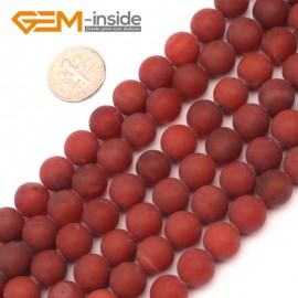"G9391 10mm Round Red Frost Gemstone Agate Beads Jewelry Making Loose Beads Strand 15""Natural Stone Beads for Jewelry Making Wholesale`"