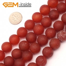 "G9400 14mm Round Red Frozen Frost Agate Beads Jewelry Making Gemstone Loose Beads Strand15"" Natural Stone Beads for Jewelry Making Wholesale`"