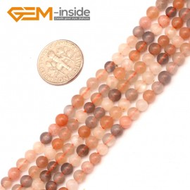 "G9401 4mm Round Smooth Mixed Color Sun Stone Beads Jewelry Making Loose Beads 15"" Natural Stone Beads for Jewelry Making Wholesale`"