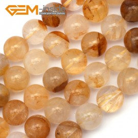 "G9413 12mm Round Smooth Yellow Rutilated Quartz Jewelry Making Stone Loose Beads 15"" Natural Stone Beads for Jewelry Making Wholesale`"