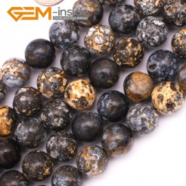 "G9425 12mm Round Gemstone Smooth Blue Ocean Jasper Jewelry Making Loose Beads Strand 15"" Natural Stone Beads for Jewelry Making Wholesale`"