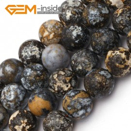 "G9426 14mm Round Gemstone Smooth Blue Ocean Jasper Jewelry Making Loose Beads Strand 15"" Natural Stone Beads for Jewelry Making Wholesale`"