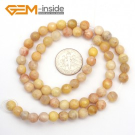"G9435 6mm Round Faceted Gemstone Yellow Sun Stone DIY Crafts Jewelry Making Loose Beads15"" Natural Stone Beads for Jewelry Making Wholesale`"