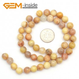 "G9436 8mm Round Faceted Gemstone Yellow Sun Stone DIY Crafts Jewelry Making Loose Beads15"" Natural Stone Beads for Jewelry Making Wholesale`"