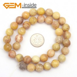 "G9437 10mm Round Faceted Gemstone Yellow Sun Stone DIY Crafts Jewelry Making Loose Beads15"" Natural Stone Beads for Jewelry Making Wholesale`"