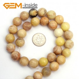 "G9438 12mm Round Faceted Gemstone Yellow Sun Stone DIY Crafts Jewelry Making Loose Beads15"" Natural Stone Beads for Jewelry Making Wholesale`"