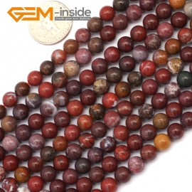 "G9439 6mm Round Smooth Gemstone Red Flower Agate Jewelry Making Beads Strand 15"" Natural Stone Beads for Jewelry Making Wholesale`"