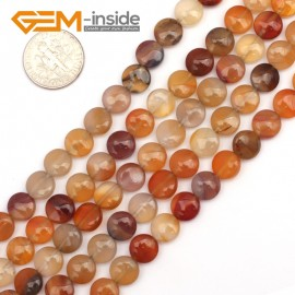 "G9451 Red/Carneline 8mm Coin Gemstone Jewelry Crafts Making Stone Loose Beads Strand 15"" Natural Stone Beads for Jewelry Making Wholesale"