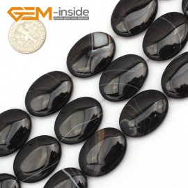 """G9454 Black/ Banded Agate 18x25mm Oval Twist Gemstone Jewelry Making Stone Loose Beads Strand 15"""" Natural Stone Beads for Jewelry Making Wholesale"""