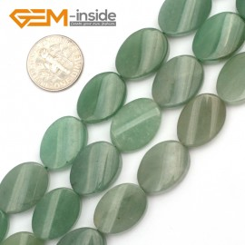 "G9462 Green/Aventurine 13x18mm Oval Twist Beads Jewelry Making Gemstone Loose Beads Strand 15""Gbeads Natural Stone Beads for Jewelry Making Wholesale"