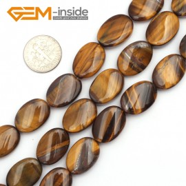 "G9465 Yellow/Tiger Eye 13x18mm Oval Twist Beads Jewelry Making Gemstone Loose Beads Strand 15""Gbeads Natural Stone Beads for Jewelry Making Wholesale"