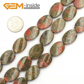 "G9467 Green/Unakite 13x18mm Oval Twist Beads Jewelry Making Gemstone Loose Beads Strand 15""Gbeads Natural Stone Beads for Jewelry Making Wholesale"
