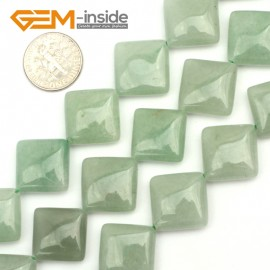 "G9475 Green/Aventurine Jade 16mm Square Diagonal Gemstone Jewelry Making Stone Loose Beads Strand 15"" Natural Stone Beads for Jewelry Making Wholesale"
