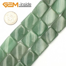 "G9483 Green/Aventurine Jade 15x20mm Twist Rectangle Jewelry Making Gemstone Loose Beads 15"" 12 Materials Natural Stone Beads for Jewelry Making Wholesale"