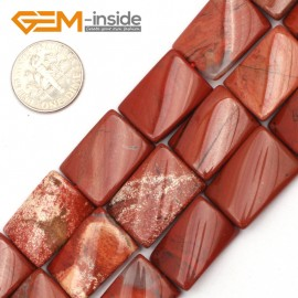 """G9487 Red/Jasper 15x20mm Twist Rectangle Jewelry Making Gemstone Loose Beads 15"""" 12 Materials Natural Stone Beads for Jewelry Making Wholesale"""