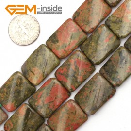 "G9488 Mixed Color/Unakite 15x20mm Twist Rectangle Jewelry Making Gemstone Loose Beads 15"" 12 Materials Natural Stone Beads for Jewelry Making Wholesale"